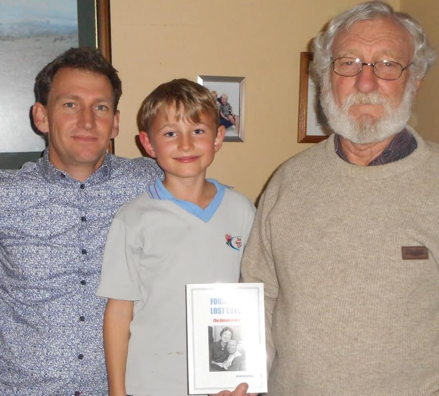Benjamin Howson, Elijah Howson and Martin Howson, with the book 'Formby's Lost Love' in New Zealand.