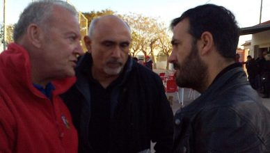 CD Montesinos Presidente Felipe (right) who discovered fixtures turmoil on the opening day of the season with reporter Andrew Atkinson (left).